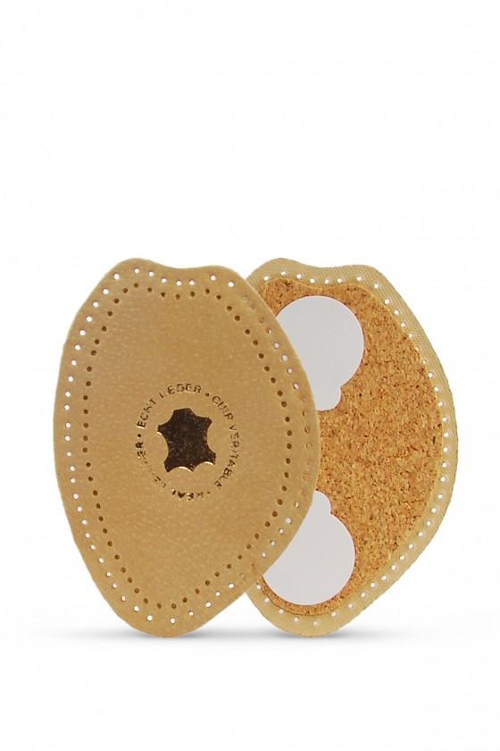 Leather half-inserts on cork